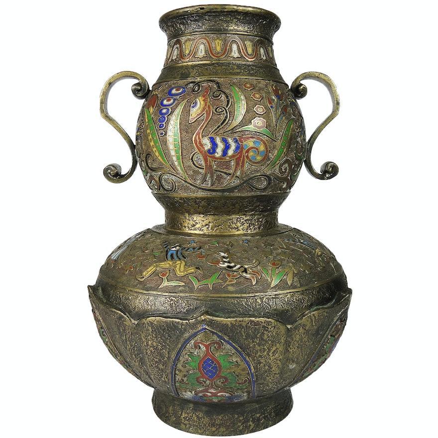 Bronze Chinese Champlev Lotus Flower Vase Ebth