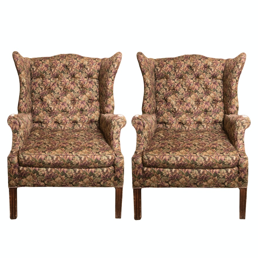 Pair of Vintage Upholstered Wingback Chairs