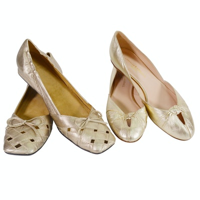 e4d1680587414 Loeffler Randall and SWS Gold Metallic Leather Shoes