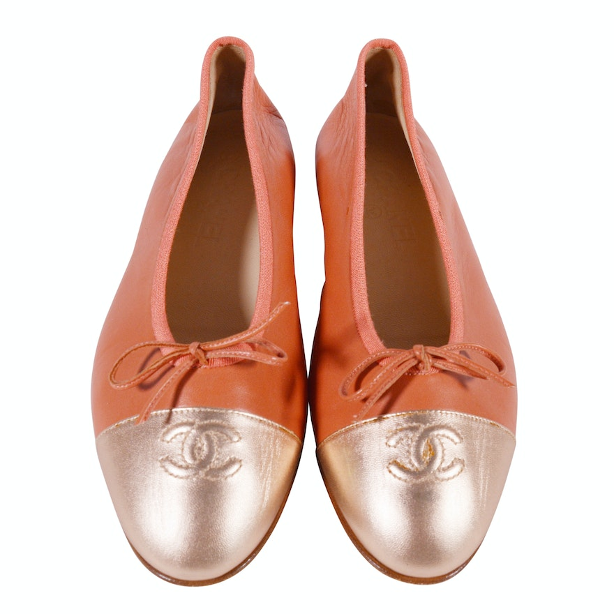 Chanel Designer Leather Flats with CC Logo