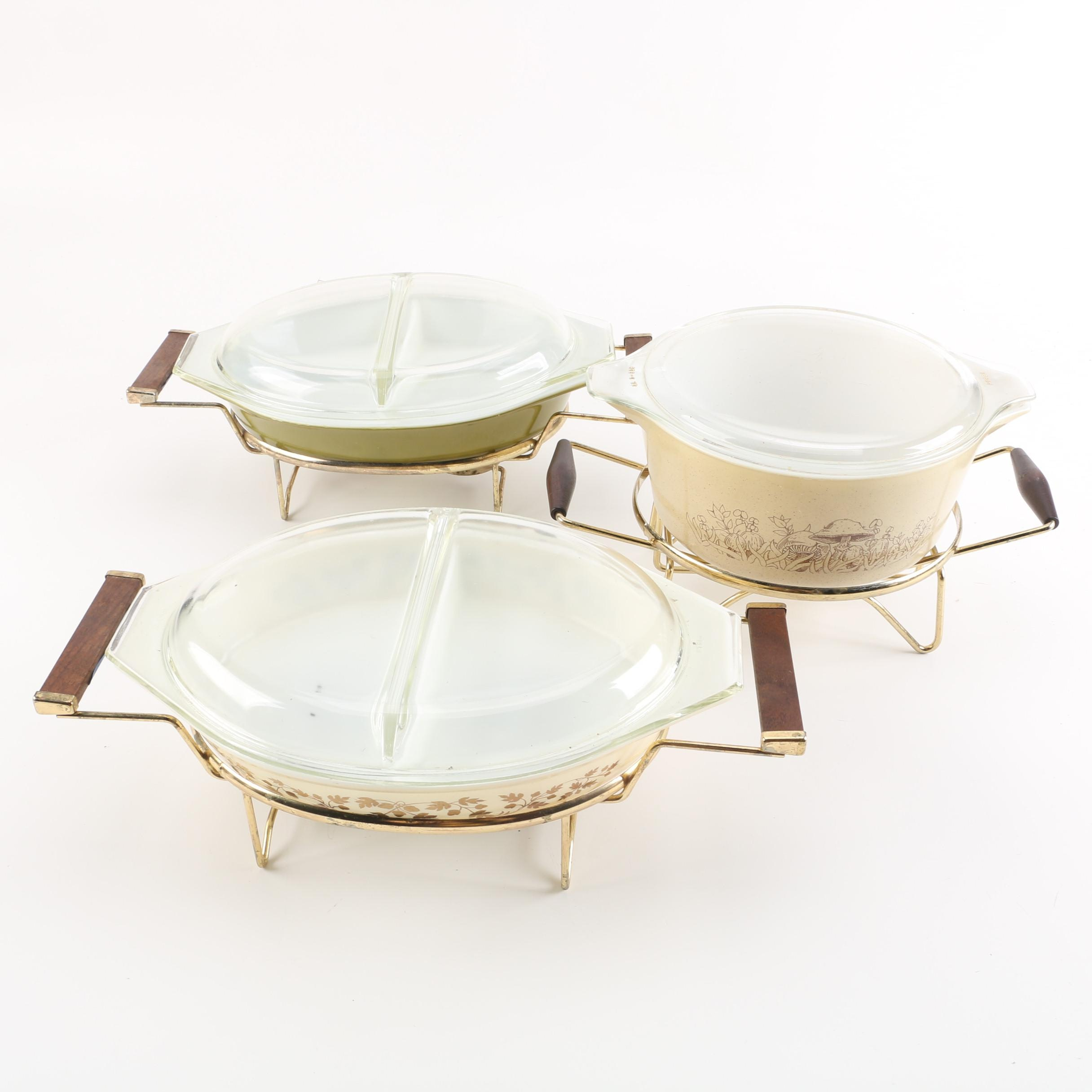 "Vintage Pyrex Casserole Dishes with Mid-Century Stands featuring ""Gold Acorn"""