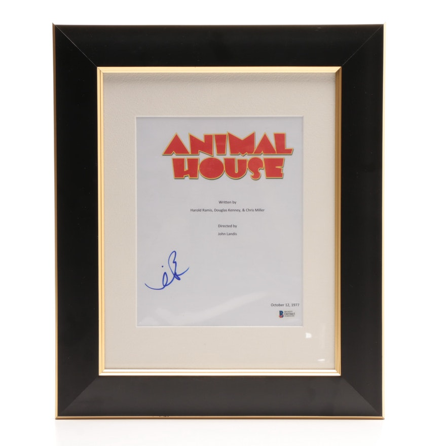 1978 animal house screenplay cover page autographed by kevin bacon