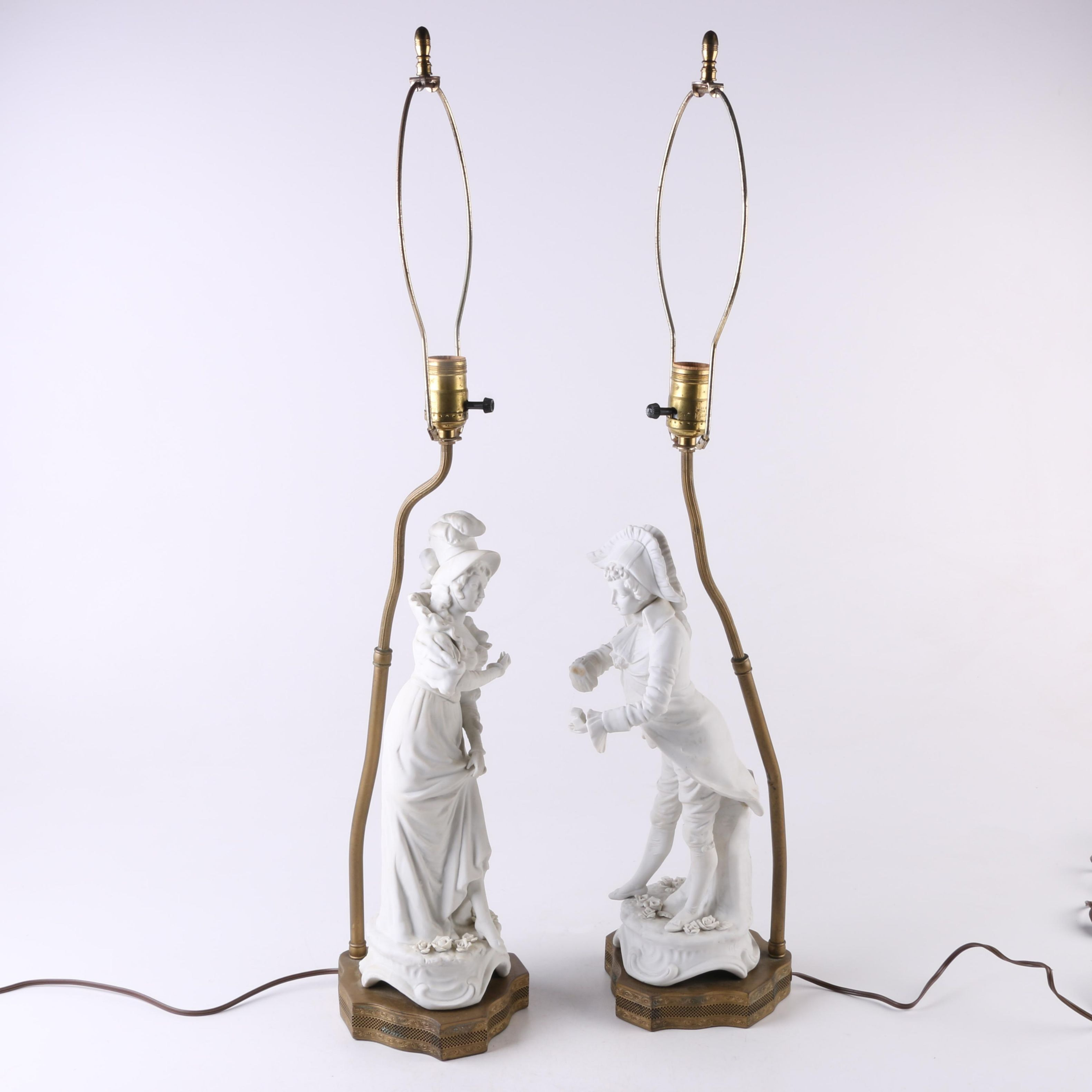 French Style Ceramic Figural Table Lamps with Brass Toned Reticulated Bases