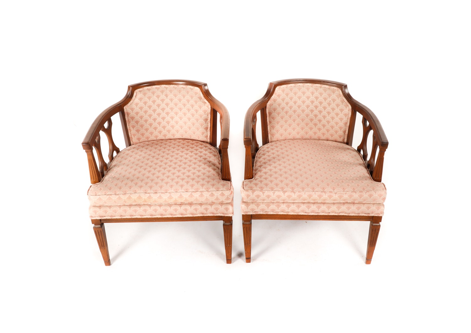 Vintage Mid-Century Pink Upholstered Armchairs