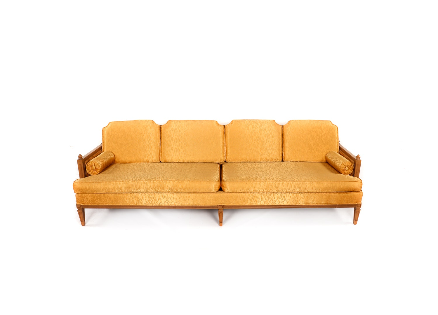 Vintage Mid-Century Gold Tone Upholstered Sofa by Quality Furniture House