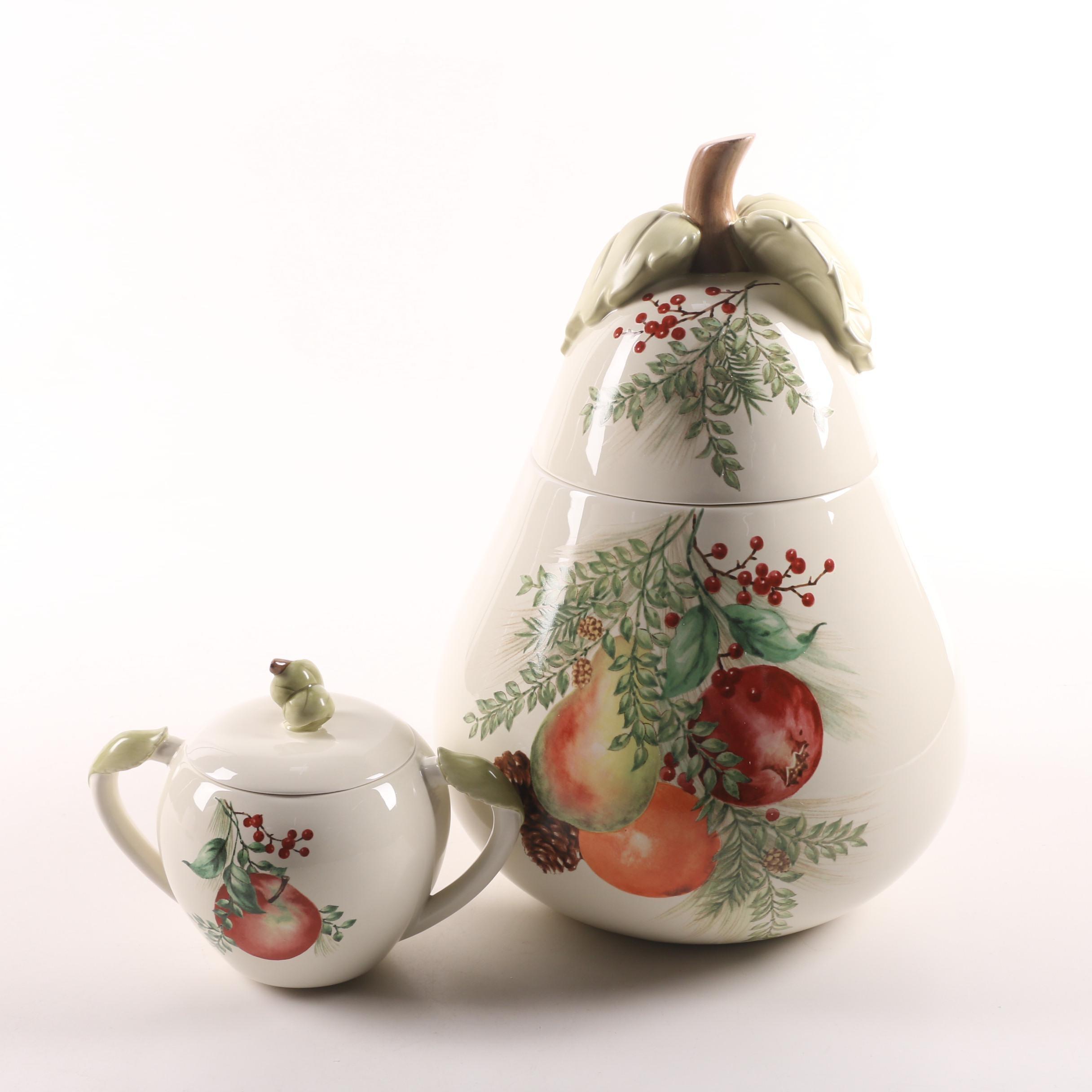 Lenox Williamsburg Boxwood Pine Cookie Jar And Sugar Bowl Ebth