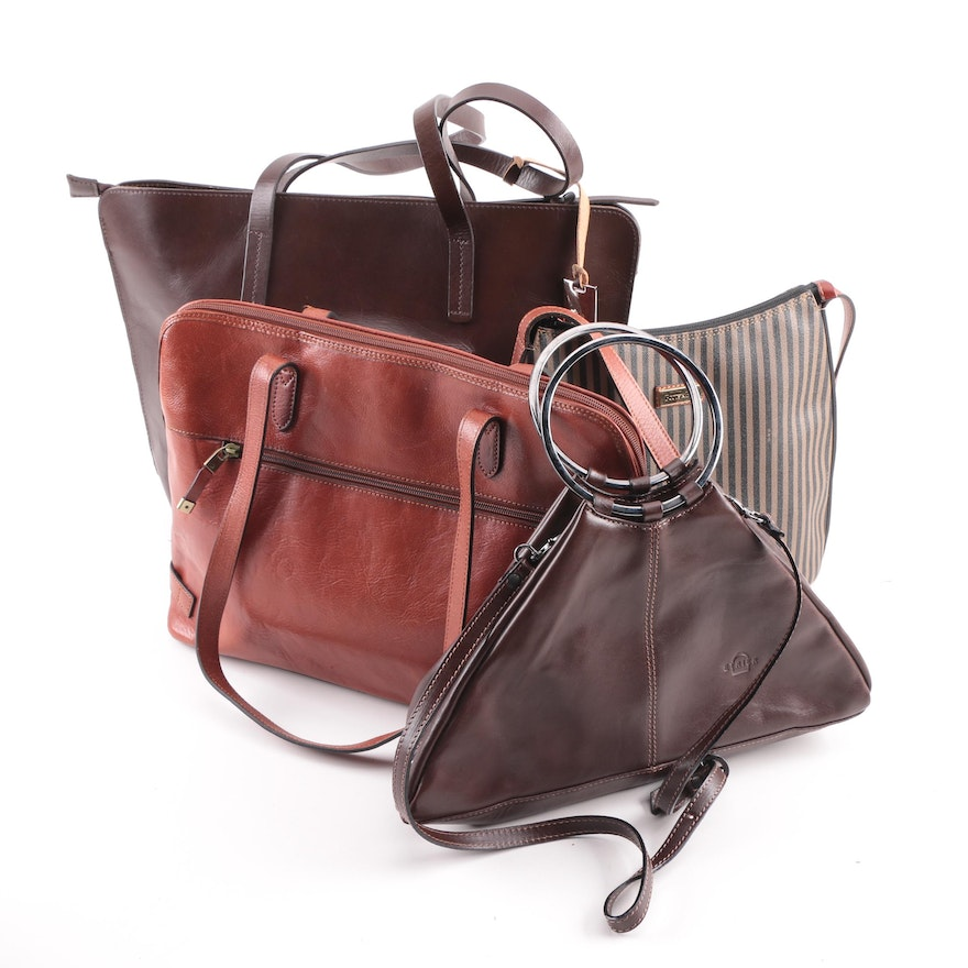 Katana Leather Laptop Bag With And Coated Canvas Tote Handbags