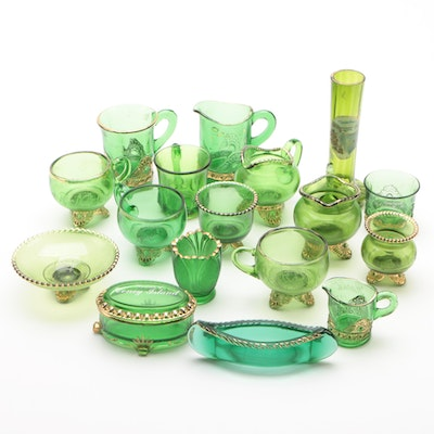 Group of Seventeen New York State Souvenir Green Glass Table Articles