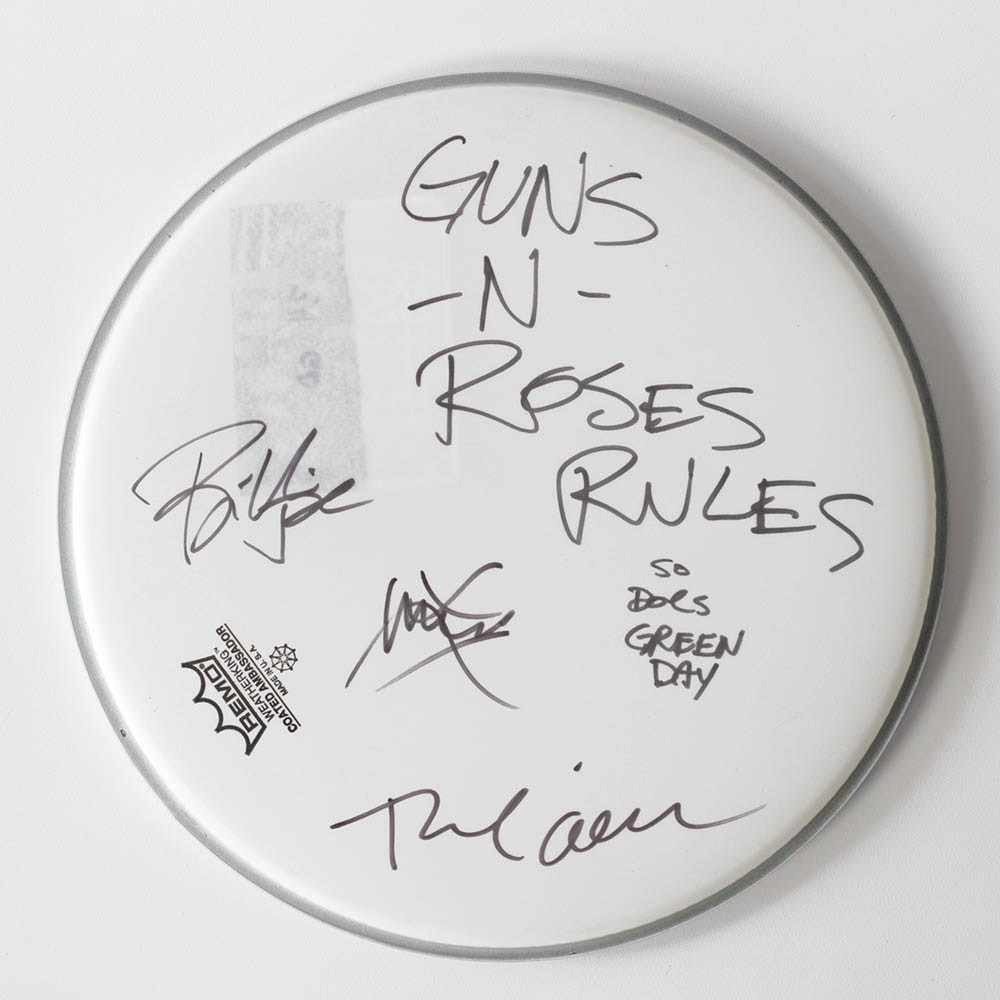 Green Day Band Autographed Drum Head