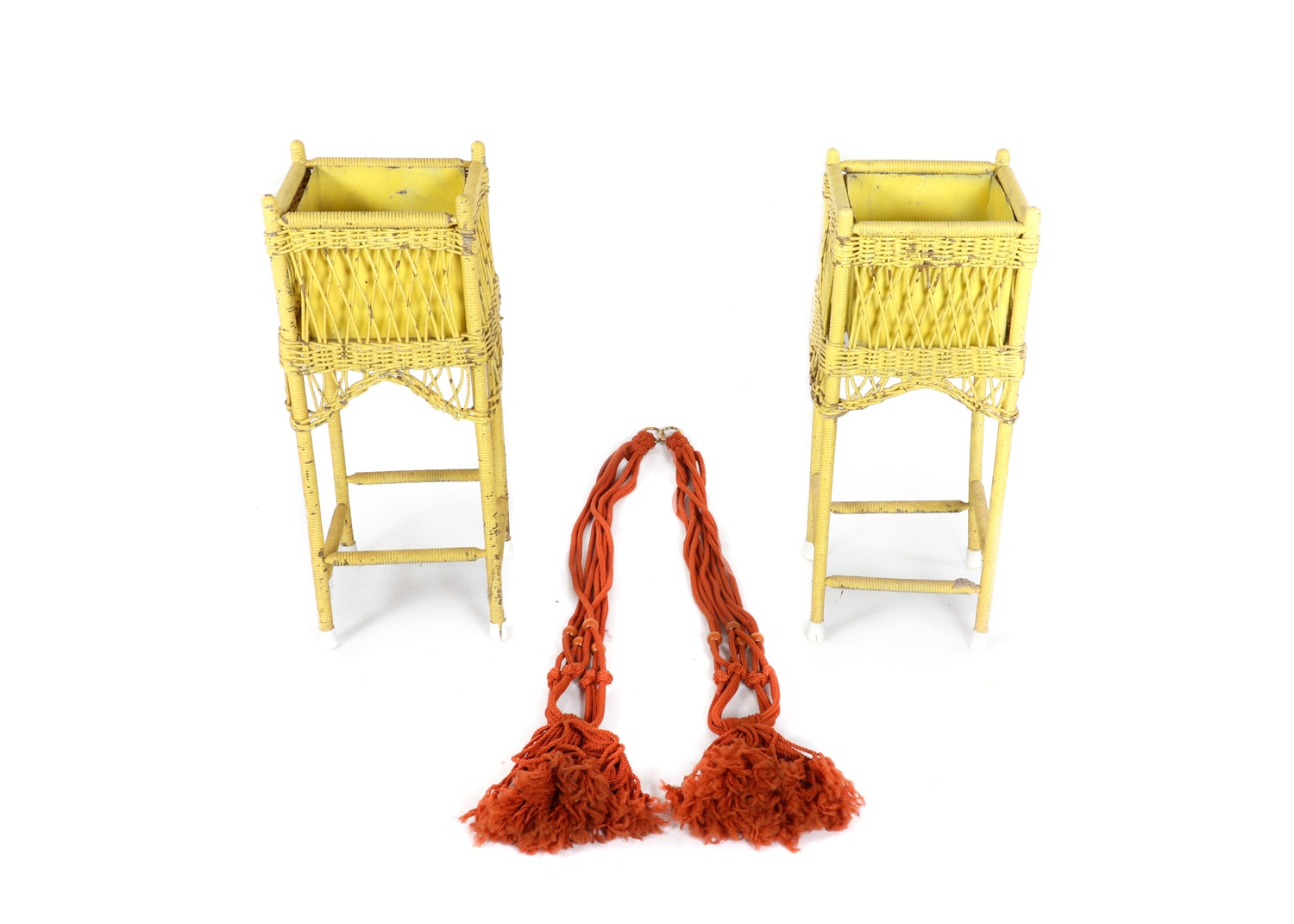 Yellow Wicker Box Planters and Macrame Plant Hangers