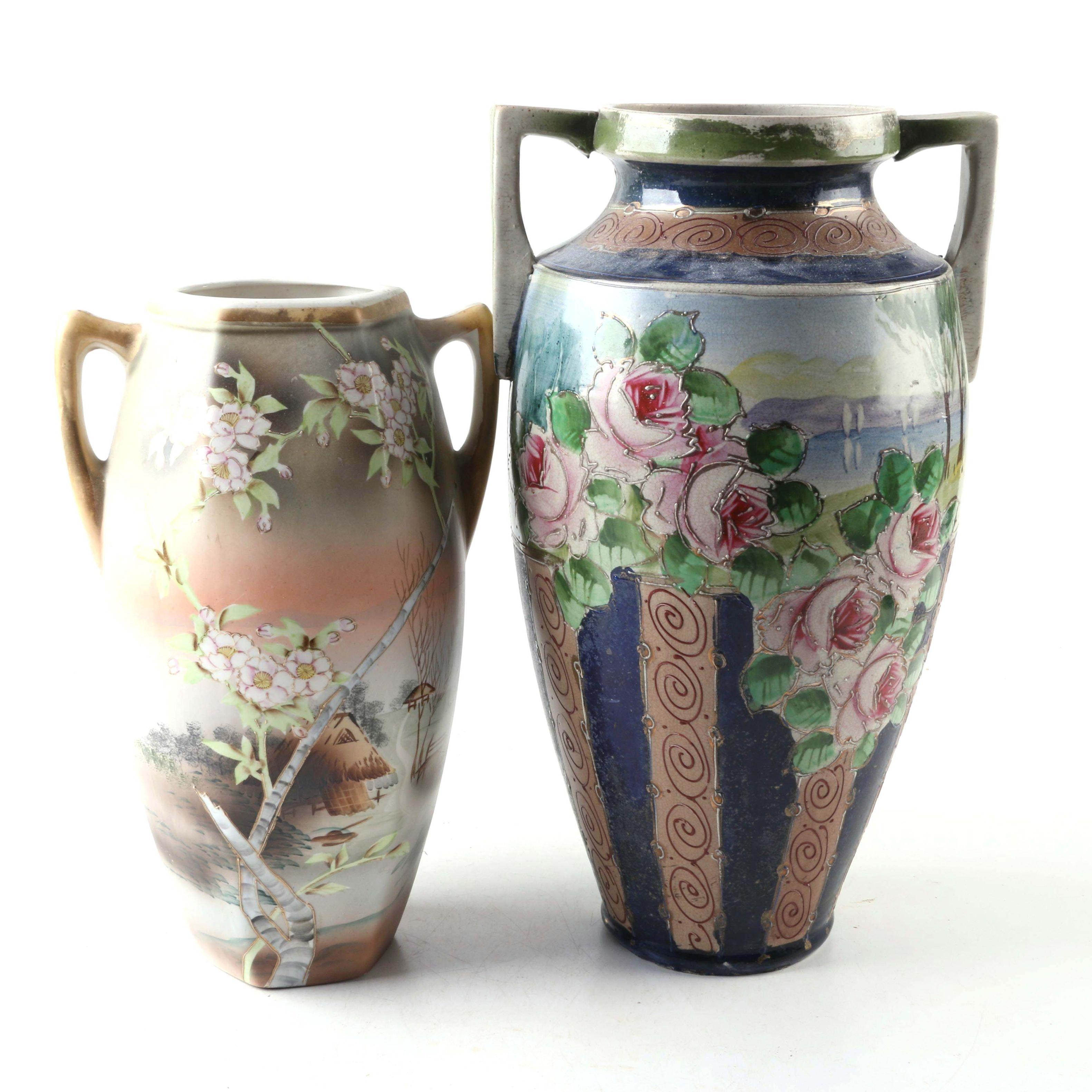 Vintage Japanese Nippon Hand-Painted Ceramic Vases