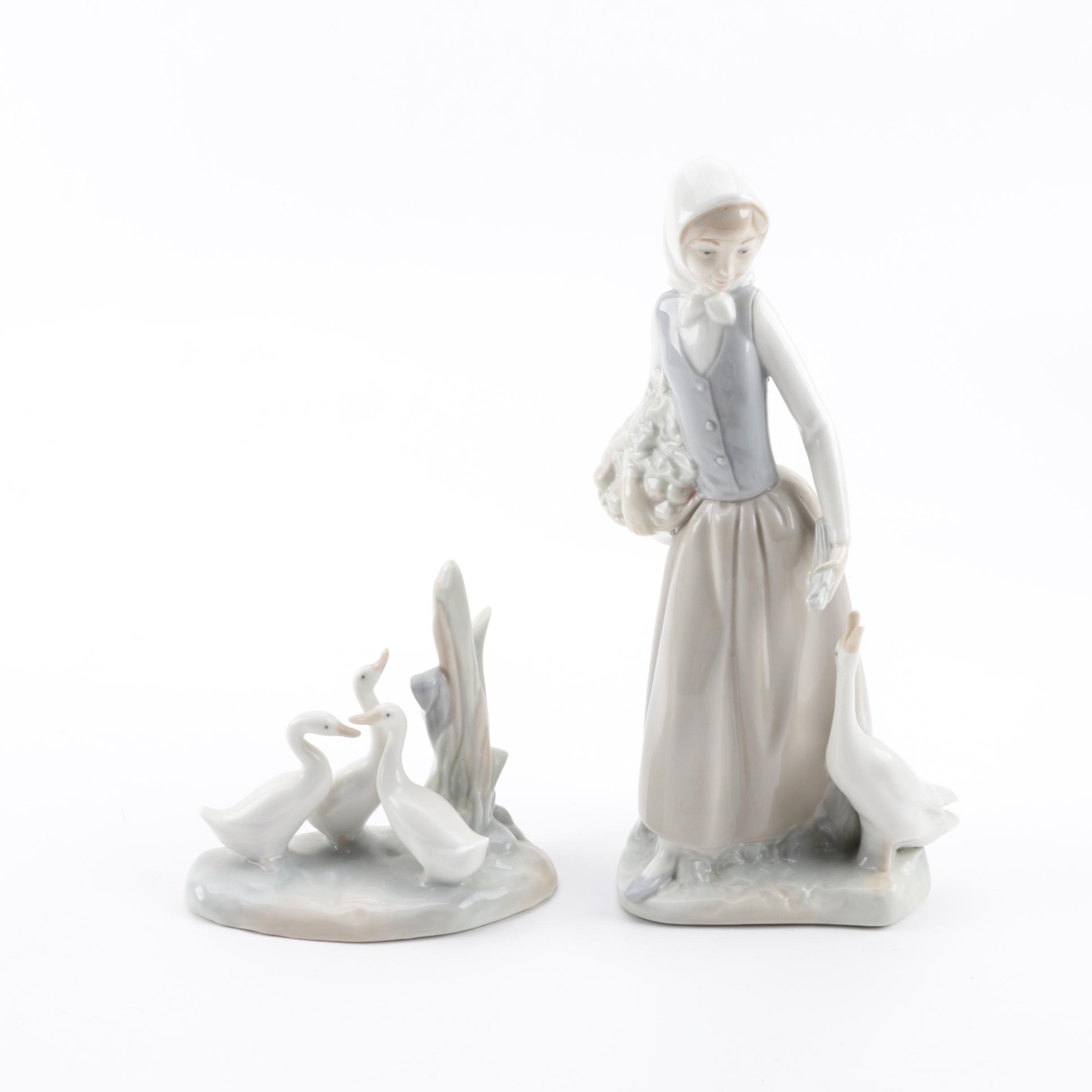 "NAO by Lladró ""Girl Feeding Goose"" and ""Group of Ducks"" Porcelain Figurines"