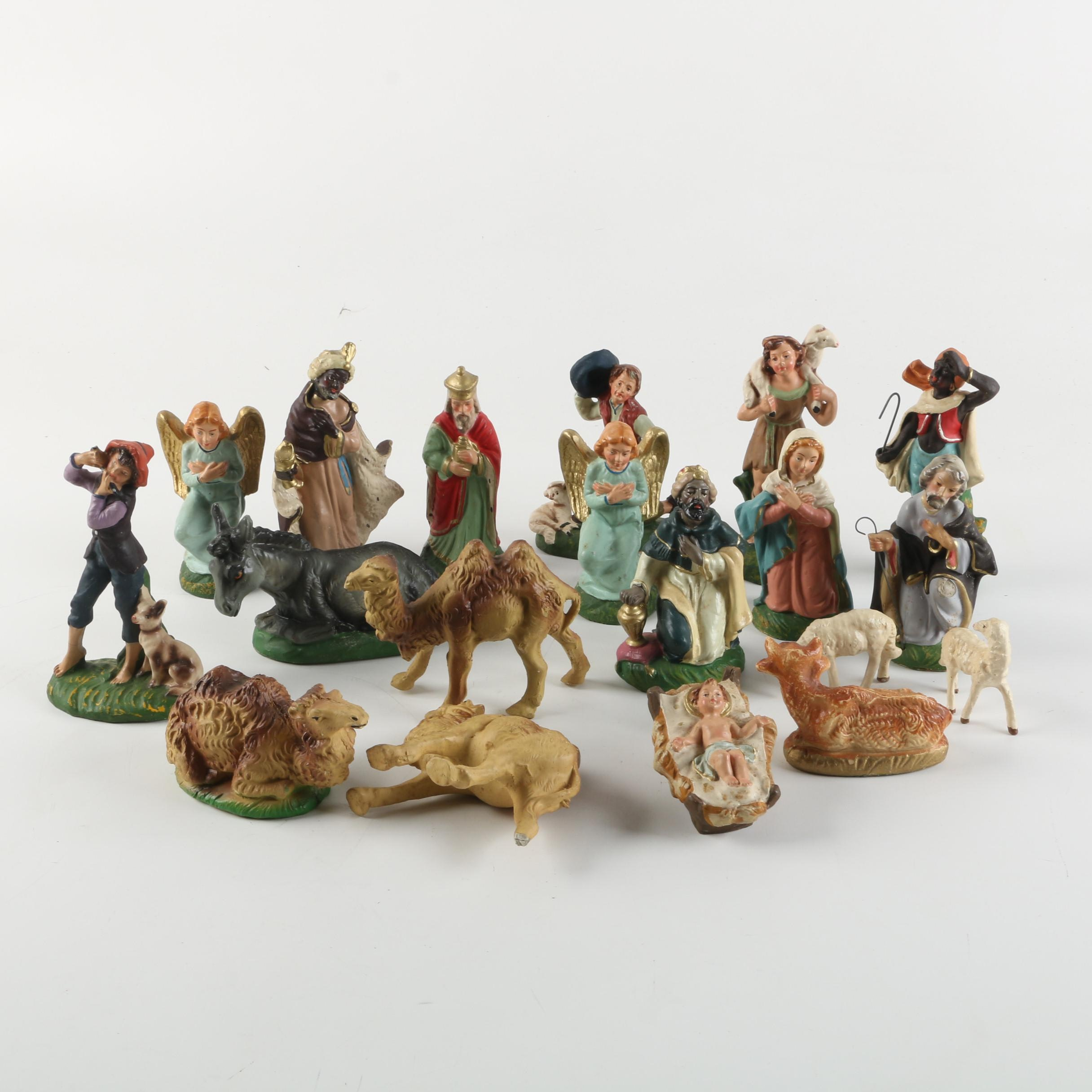 Vintage Italian Chalkware Nativity Figurines