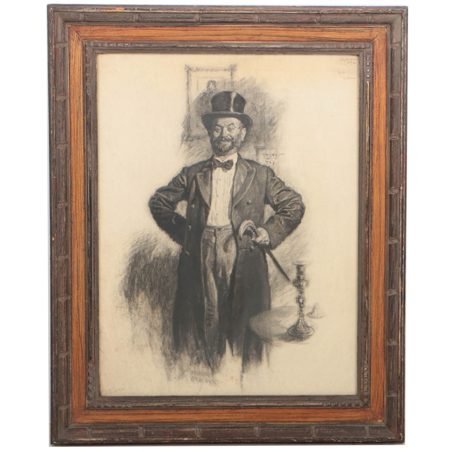 0098d0069bd6a M. Leone Bracker Circa 1920 Charcoal Illustration of a Man with a Top Hat    EBTH