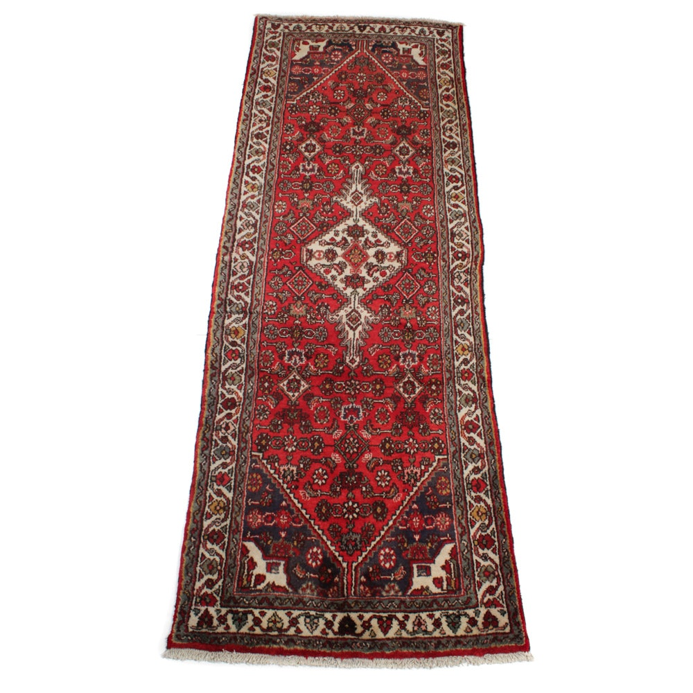 3'4 x 9'4 Semi-Antique Hand-Knotted Persian Bibikabad Runner