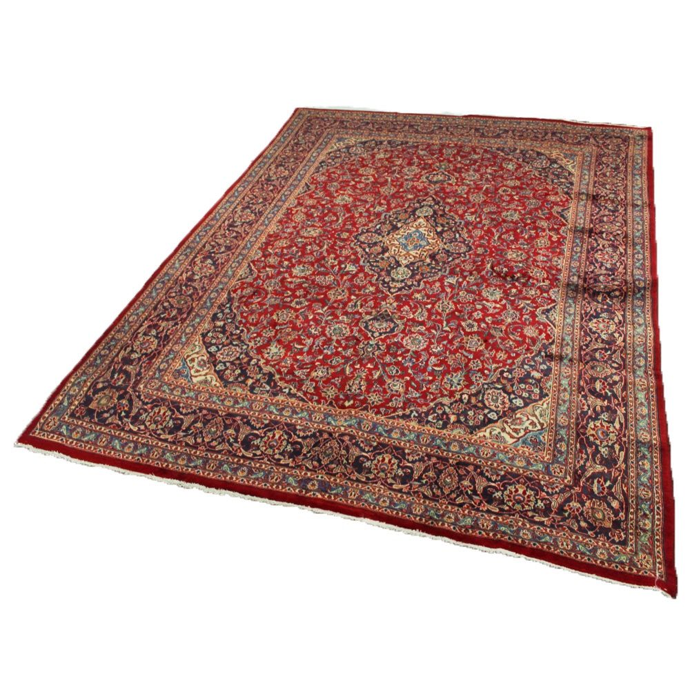 9'7 x 12'10 Fine Hand-Knotted Persian Mashhad Room Size Rug