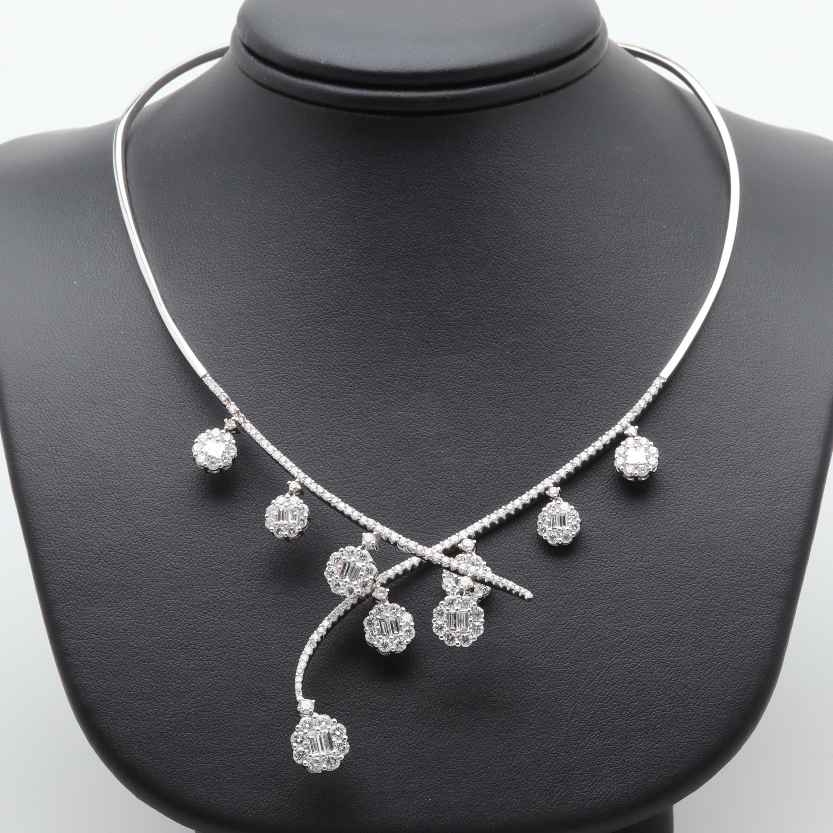 18K White Gold 5.39 CTW Diamond Necklace