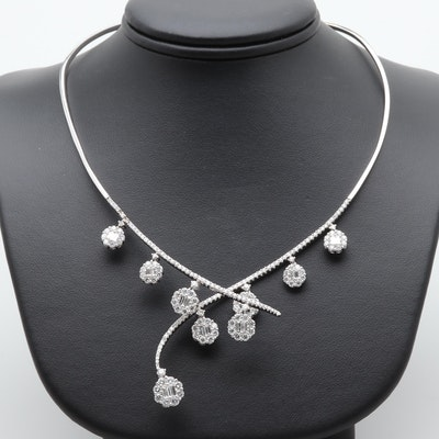 18K White Gold 5.39 CTW Diamond Necklace