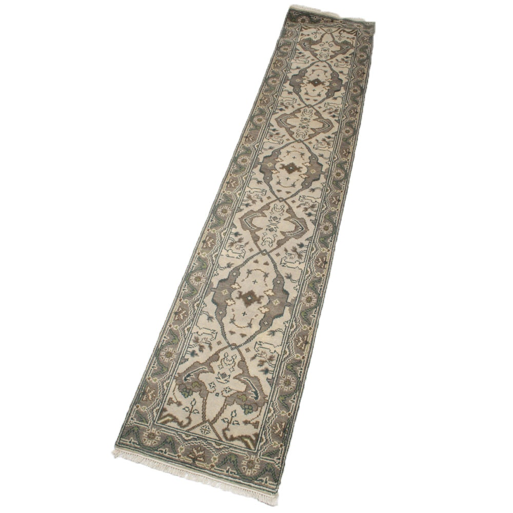2'6 x 12' Hand-Knotted Indo-Turkish Oushak Runner