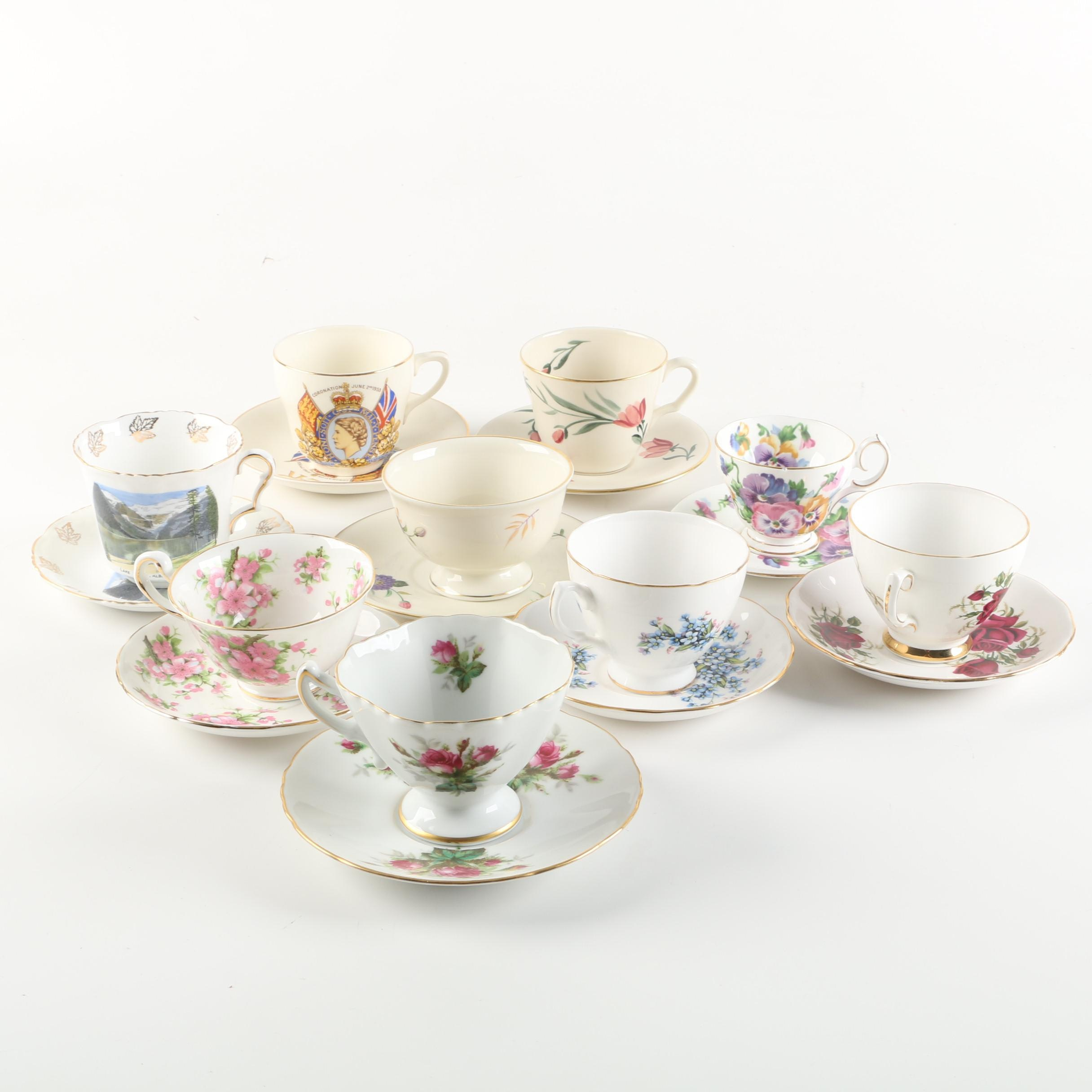 "Vintage Teacups and Saucers featuring Rossetti ""Antique Rose"" and Royal Vale"