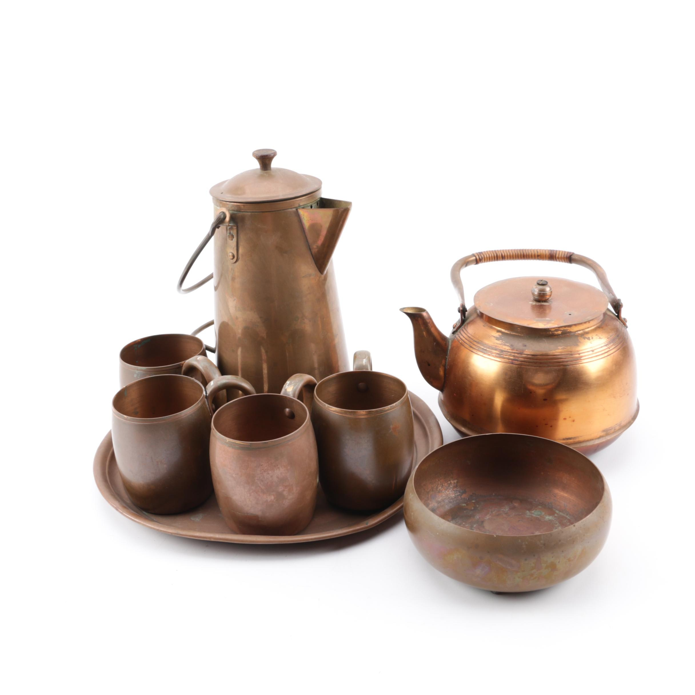 Vintage Copper Coffee and Tea Service featuring West Bend