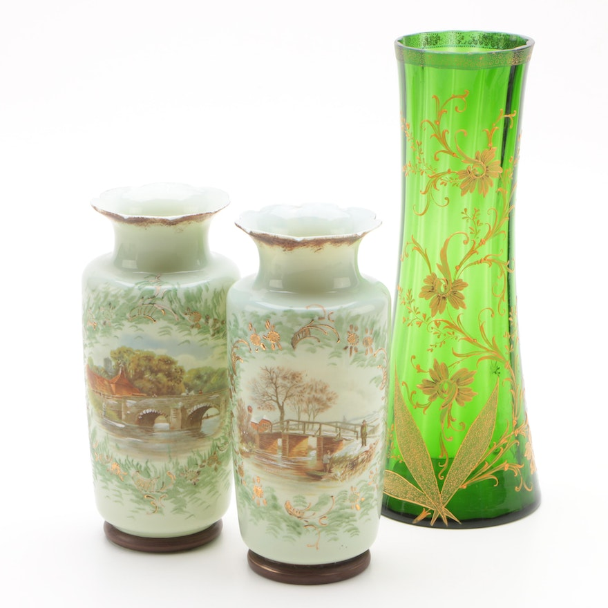 Pair Of Bohemian Painted Glass Vases And A Tall Green Glass Vase Ebth