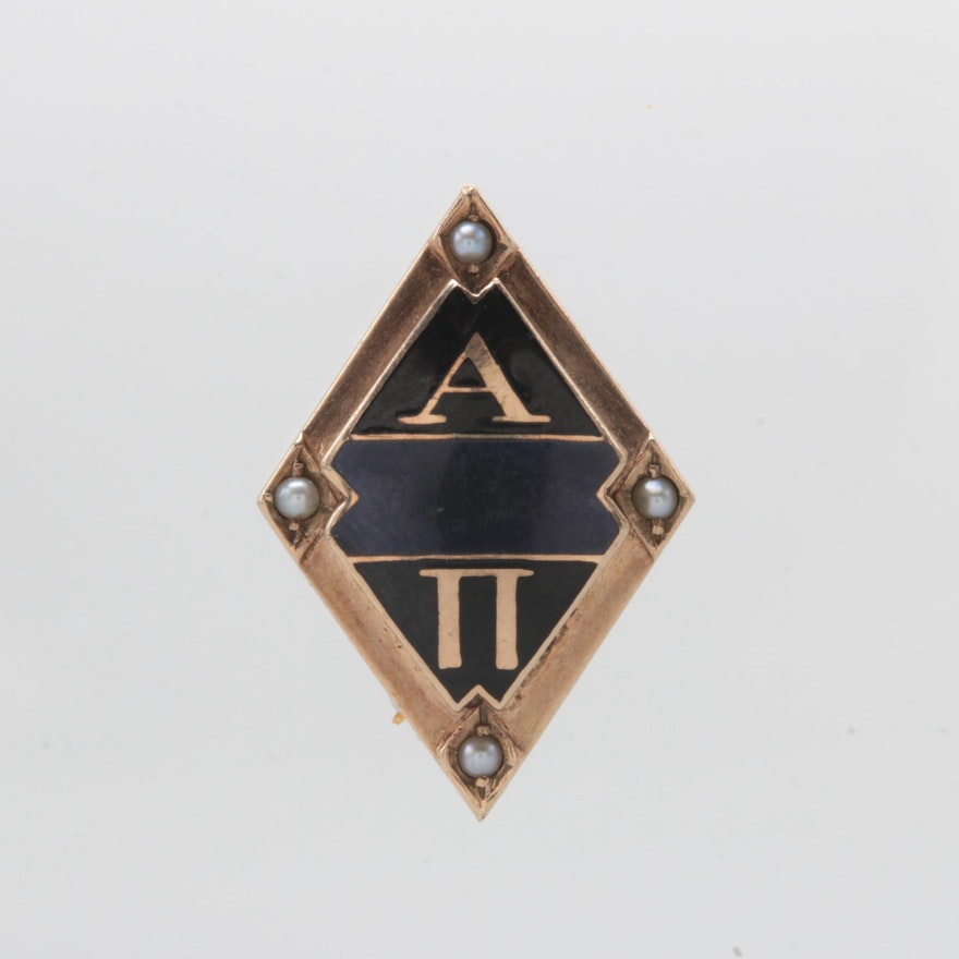 bf99029dc019 10K Rose Gold Cultured Pearl and Enamel Alpha Phi Pin : EBTH