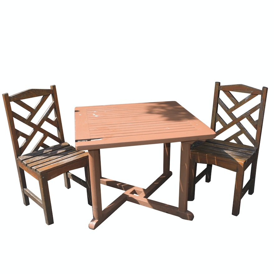Painted Teak Patio Table With Teak Side Chairs By Country Casual
