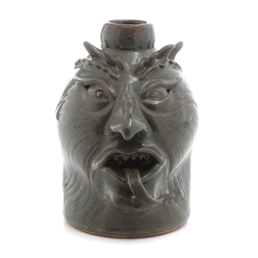 Indiana Bastine Pottery Green Grotesque Face Jug