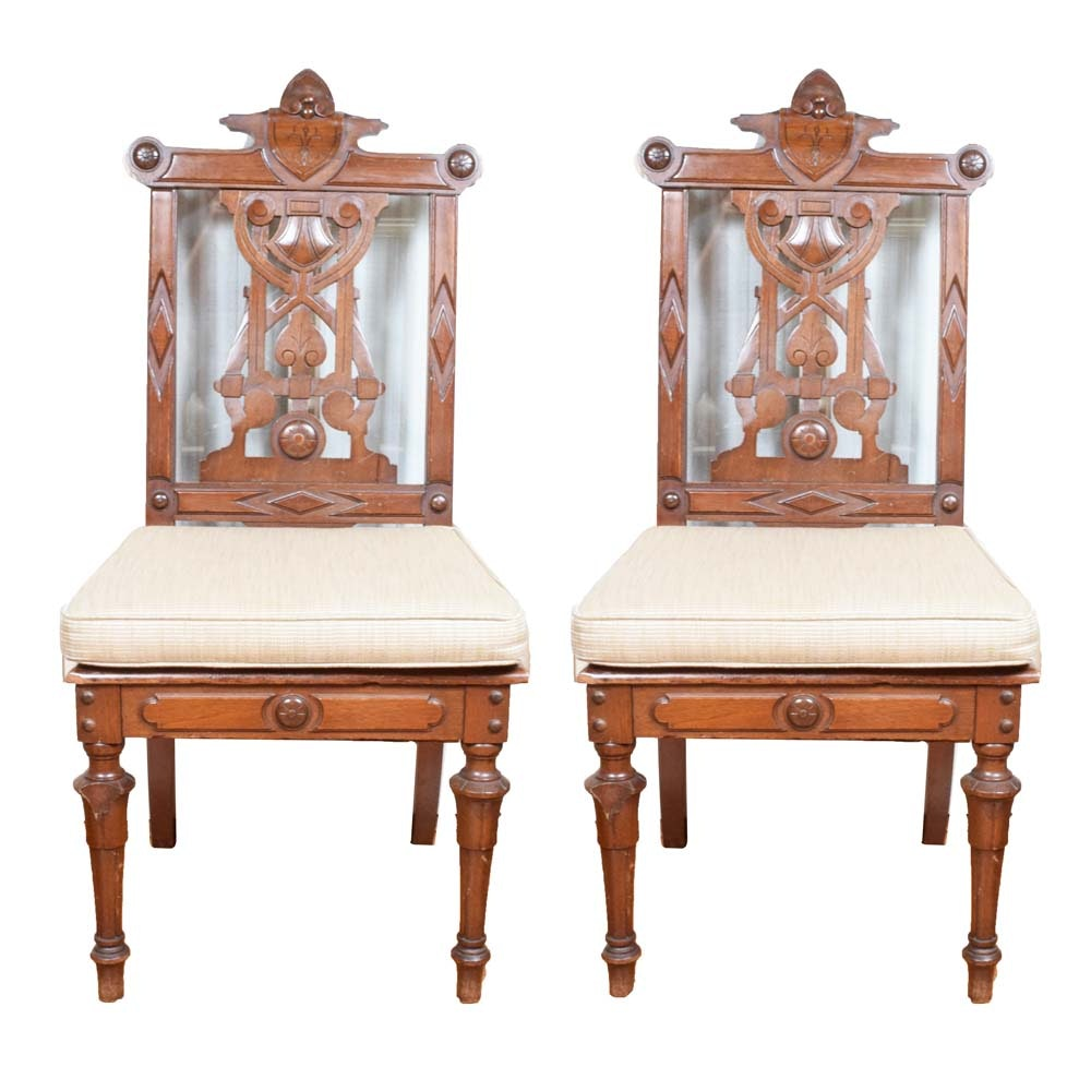 Antique Walnut Eastlake Music Chairs