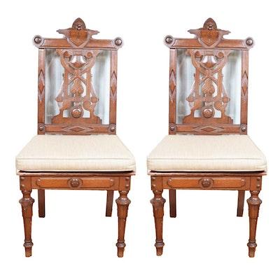 Antique Walnut Eastlake Music Chairs