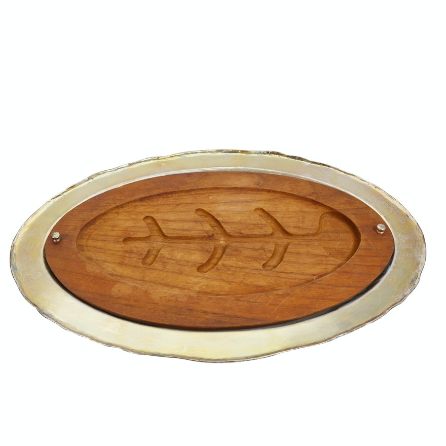 Sterling Silver Industria Peruana Platter With Wood Meat Tray Insert