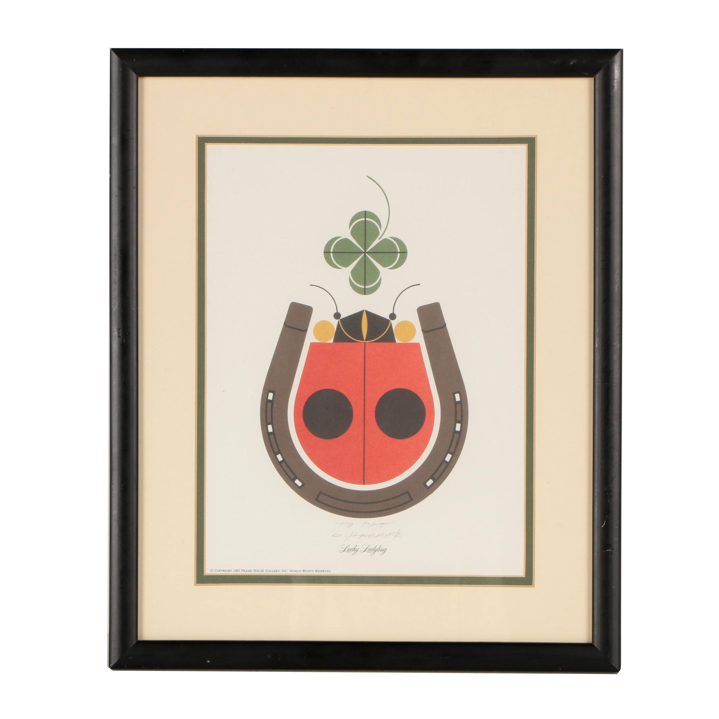 """Charley Harper Color Lithograph """"Lucky Ladybug"""""""