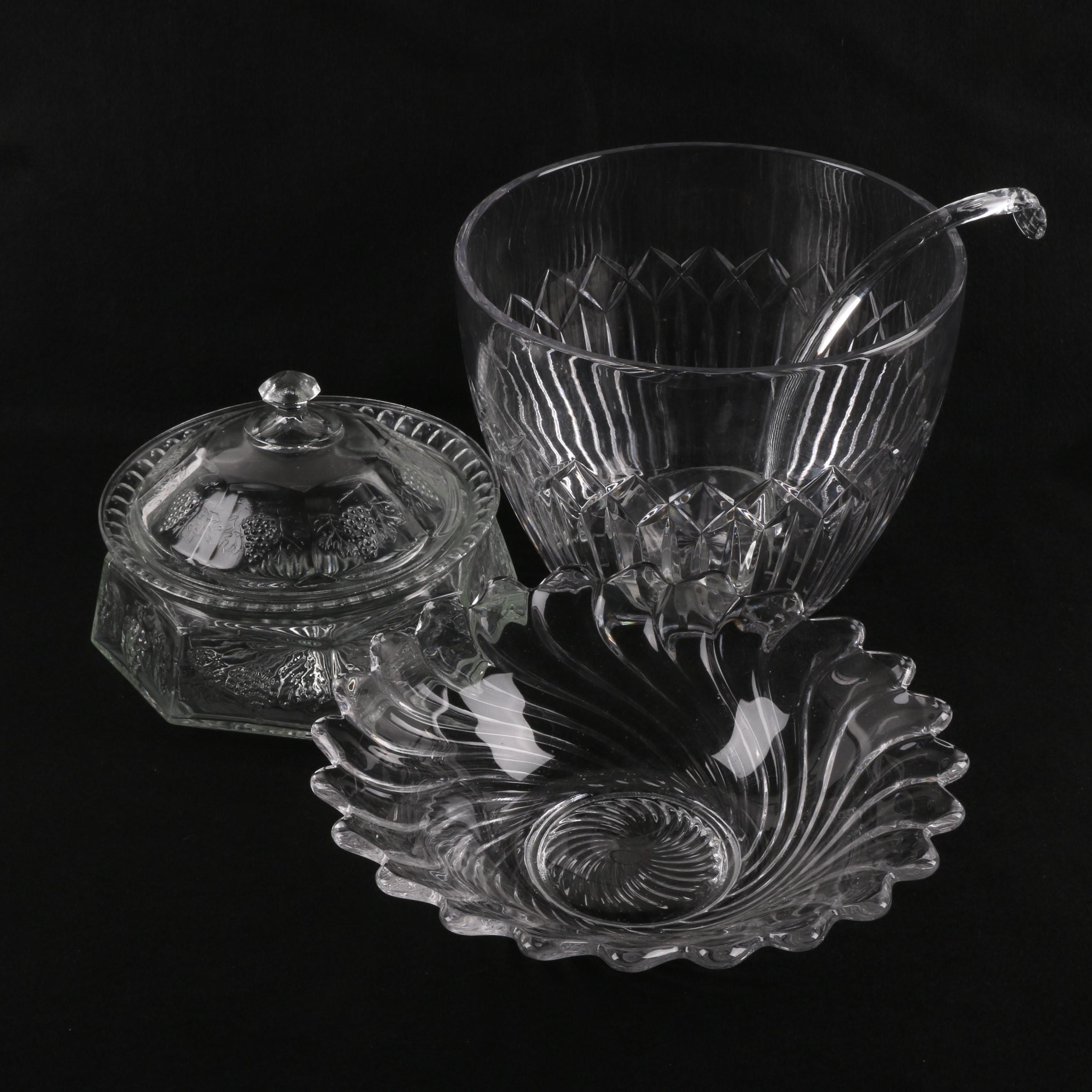 Crystal Punch Bowl and Glass Serveware