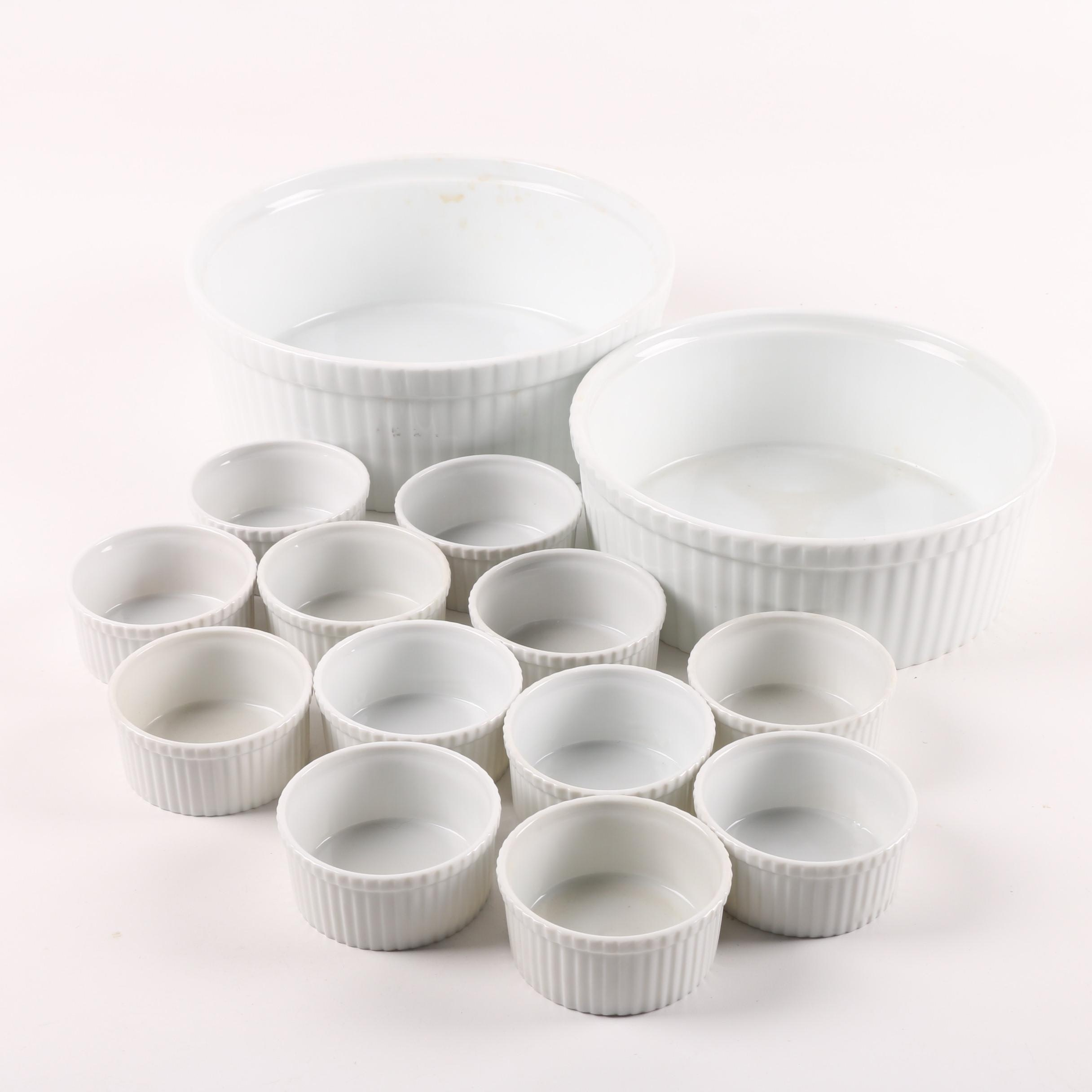 White Ribbed Porcelain Casserole Dishes and Ramekins