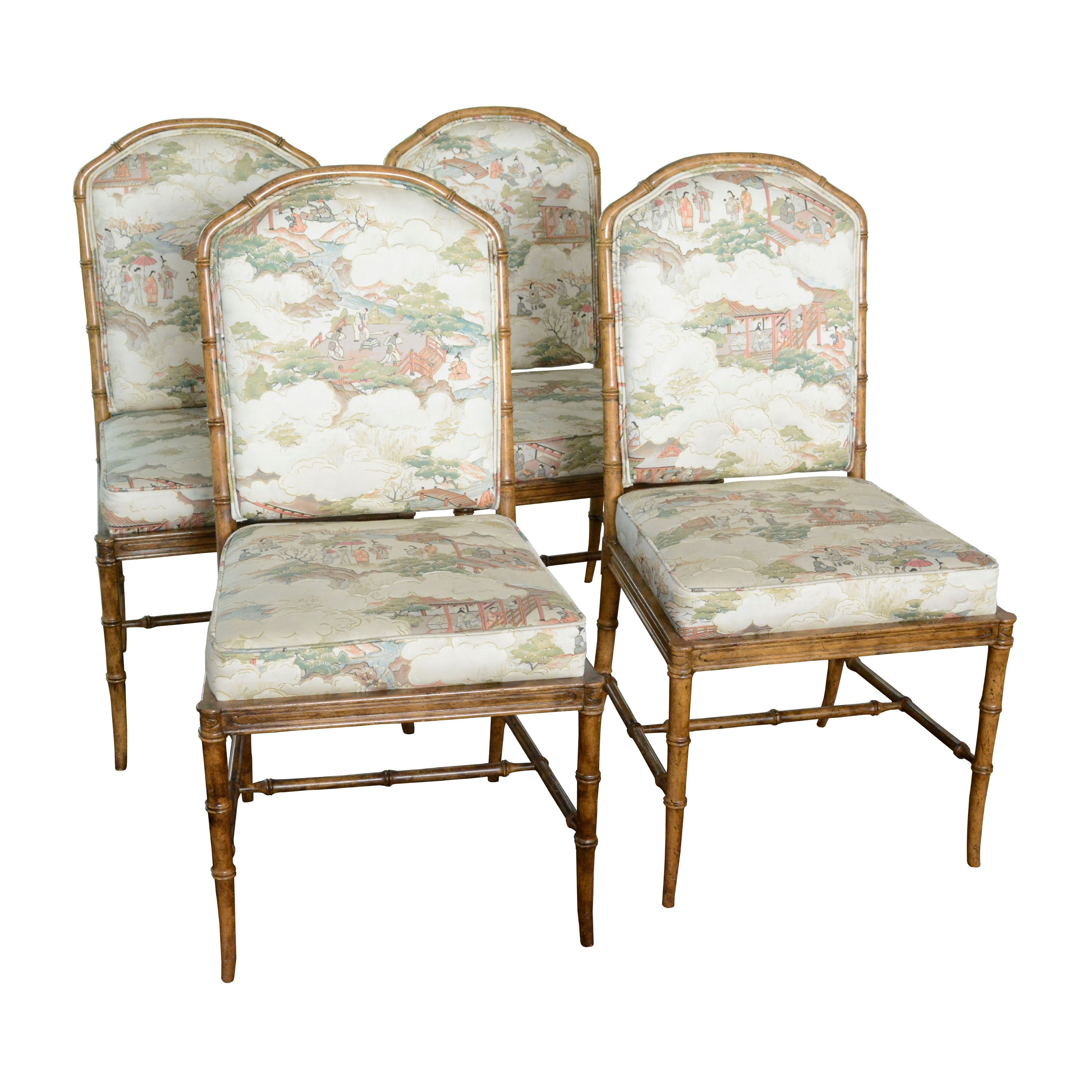 Japanese Inspired Upholstered Bamboo Side Chairs