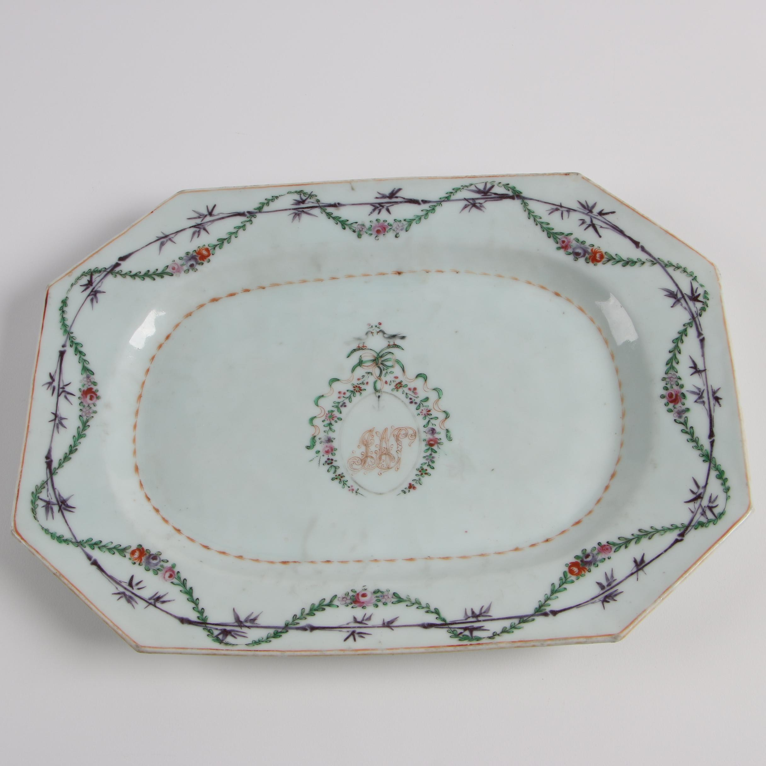 18th Century Chinese Export Small Monogrammed Meat Platter