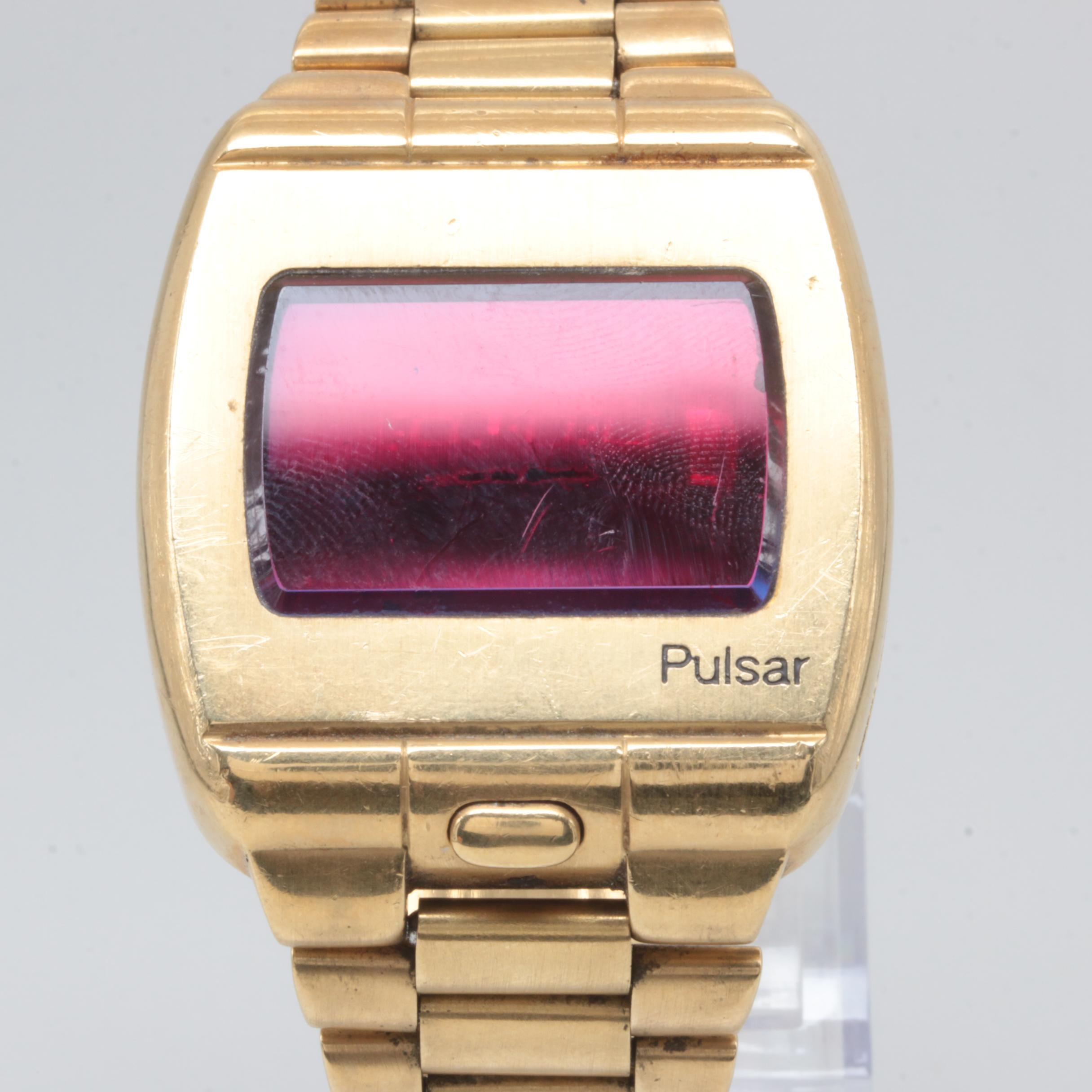 """Circa 1970s 18K Yellow Gold Pulsar """"Time Computer P1"""" Digital Wristwatch"""