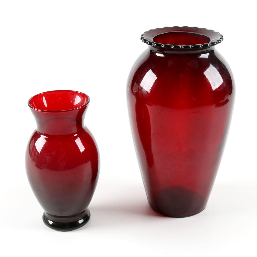Vintage Ruby Red Glass Vases Ebth