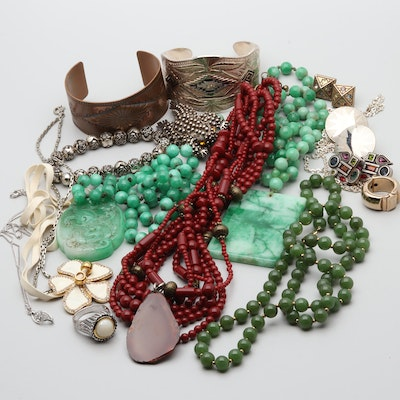 Assortment of Costume Jewelry Including Dyed Jadeite and Serpentine Necklaces