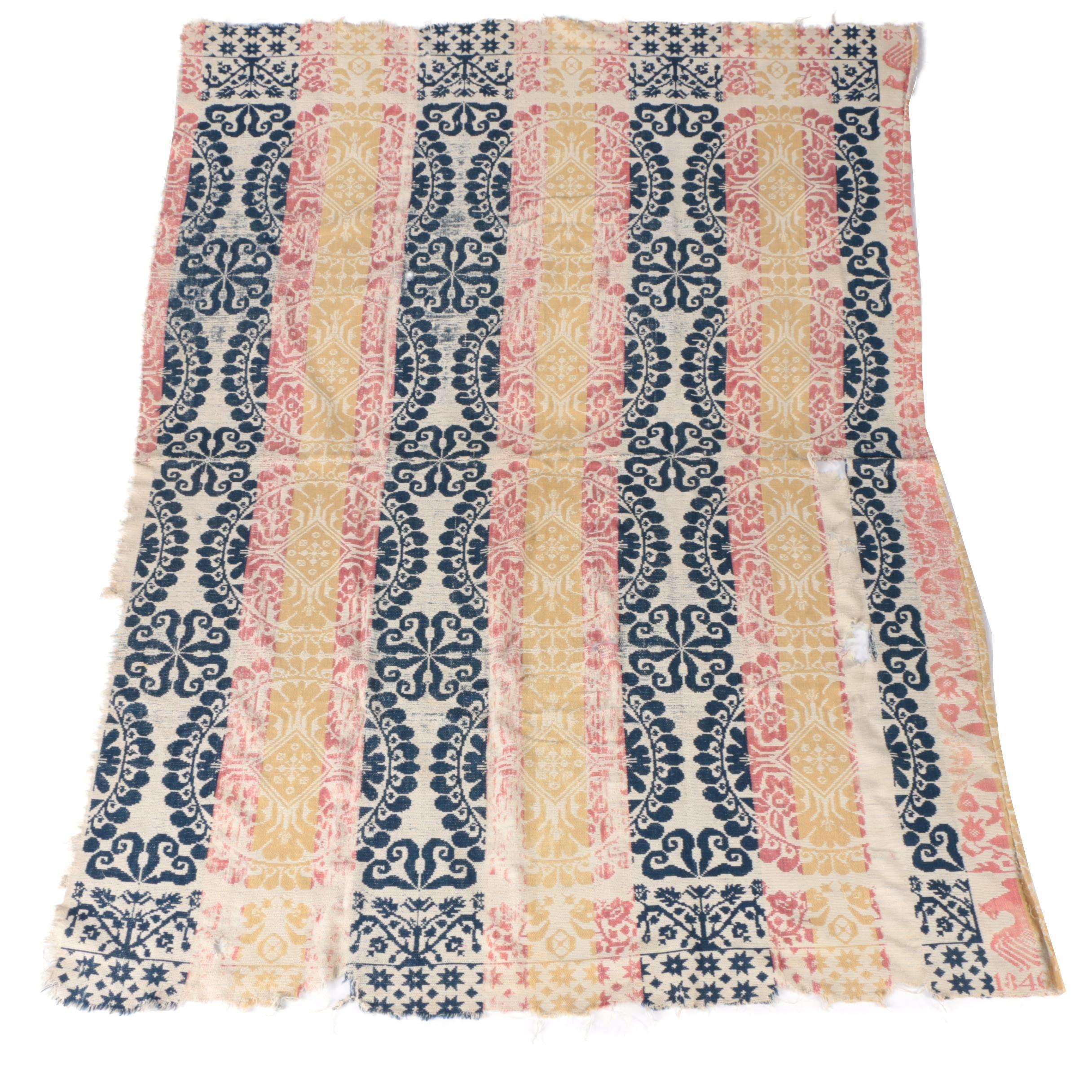 1846 Antique Double Weave Coverlet