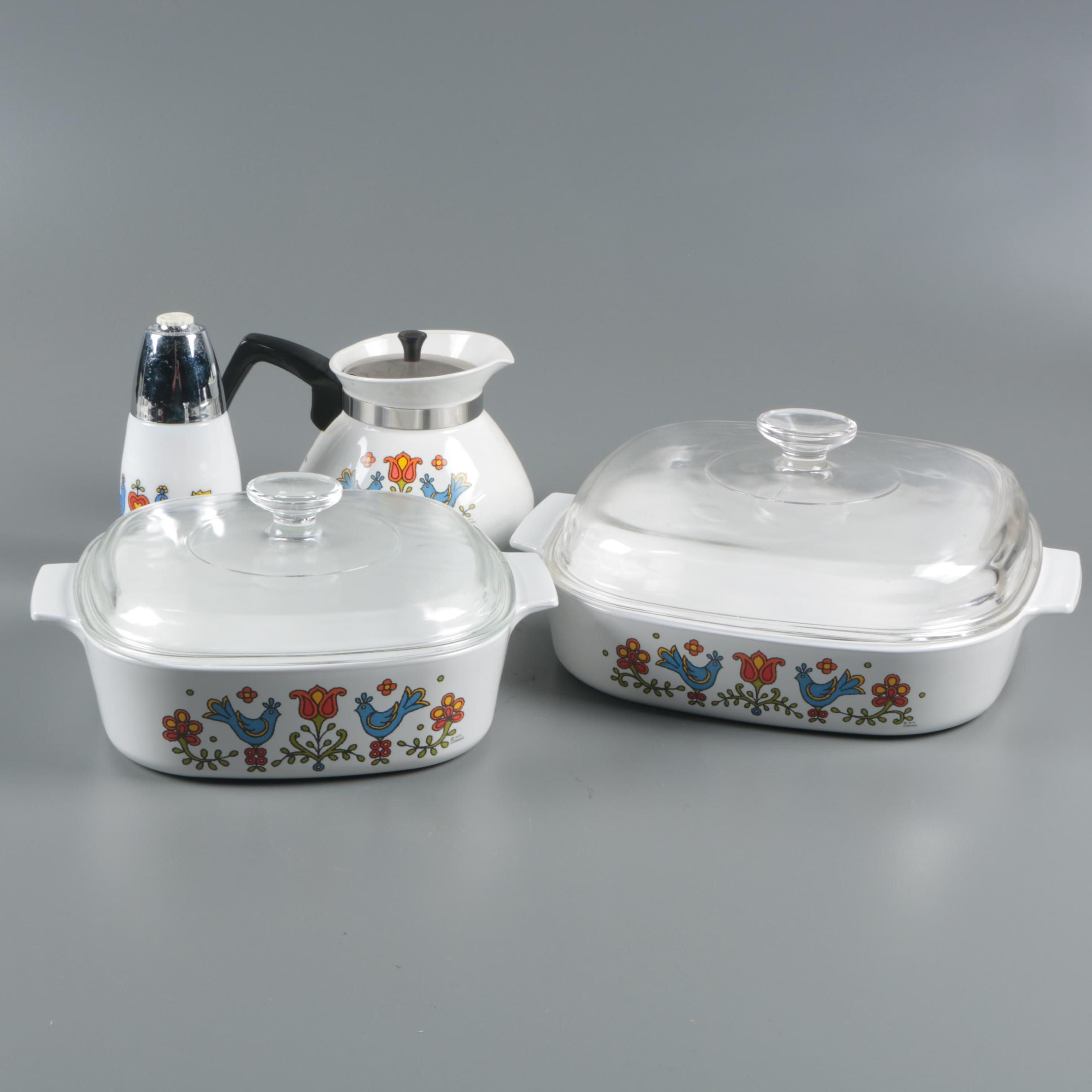 "Corning Ware ""Country Festival"" Casseroles and Coffee Pot with Gemco Shaker"