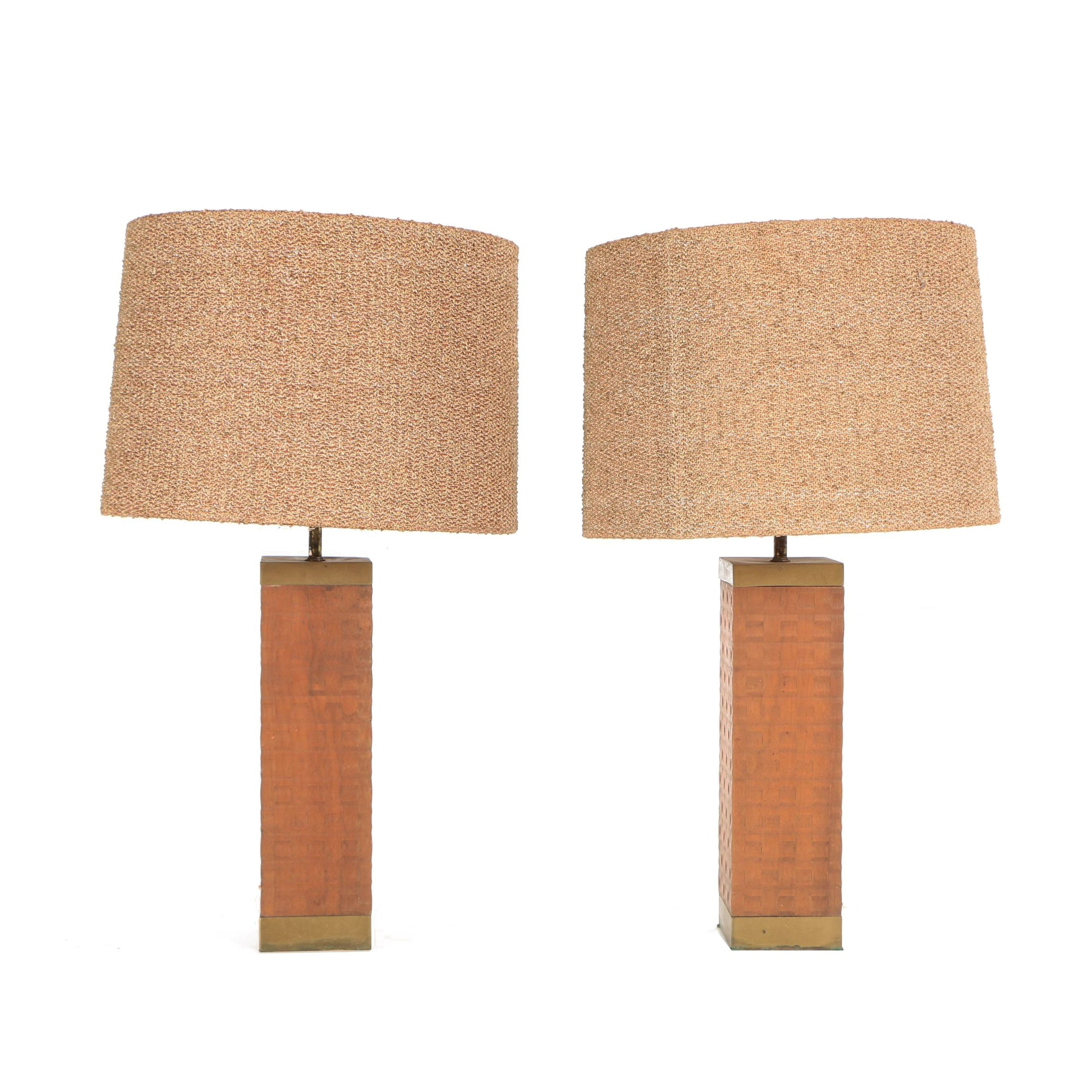 Mid-Century Basketweave Block Table Lamps with Textured Shades