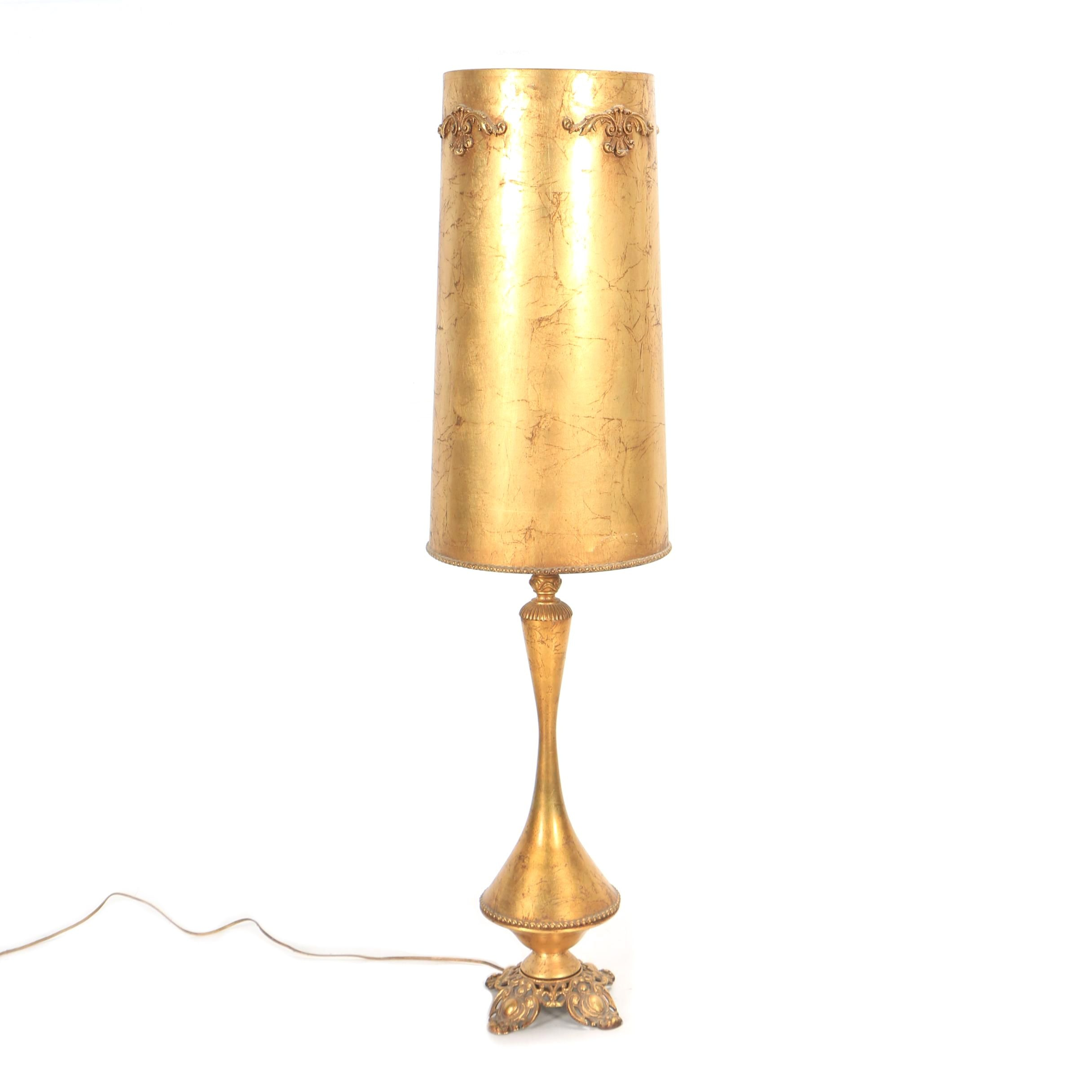 Vintage Gilt Finish Metal Table Lamp with Matching Parchment Cylindrical Shade