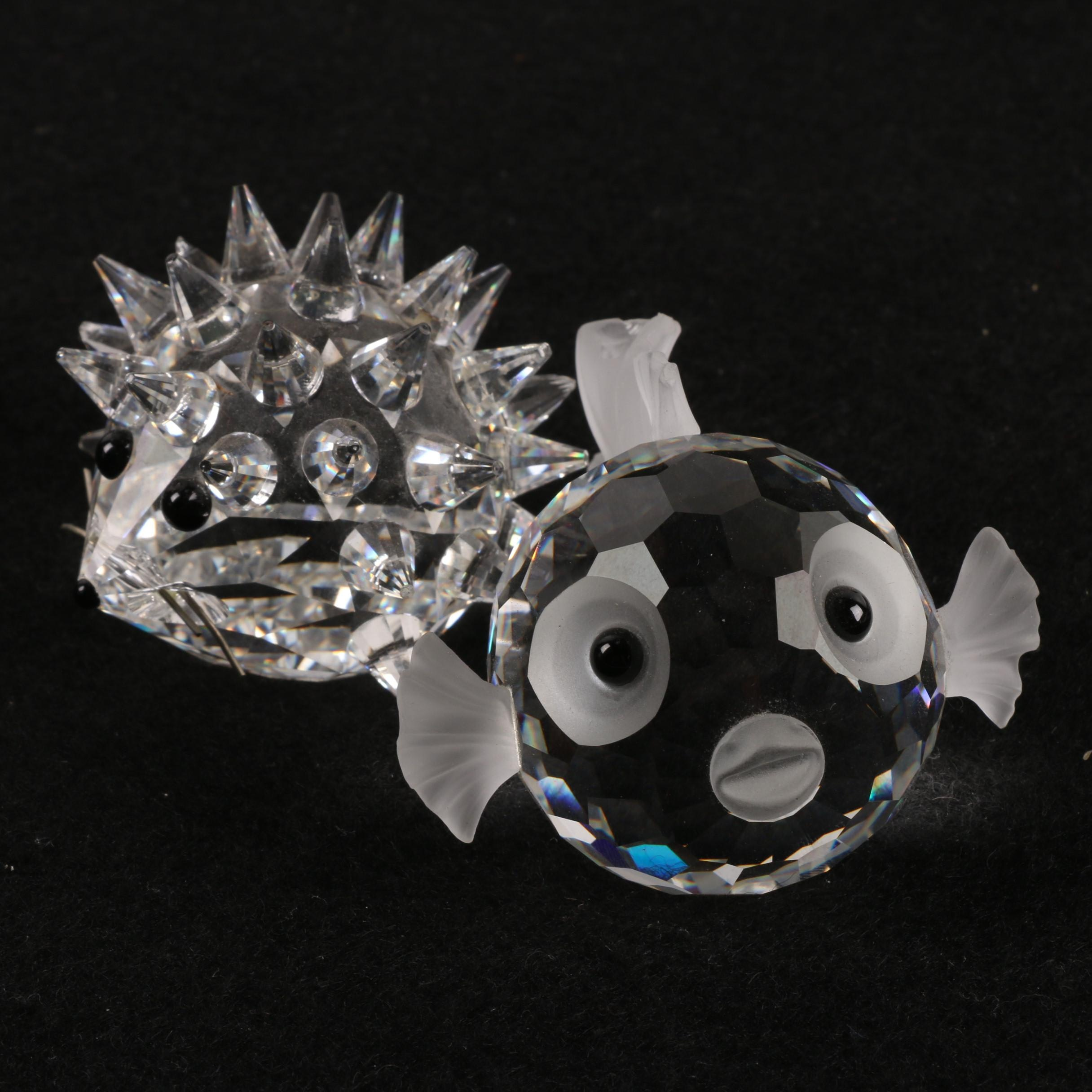 "Swarovski Crystal ""Porcupine"" and ""Blowfish"" Figurines"