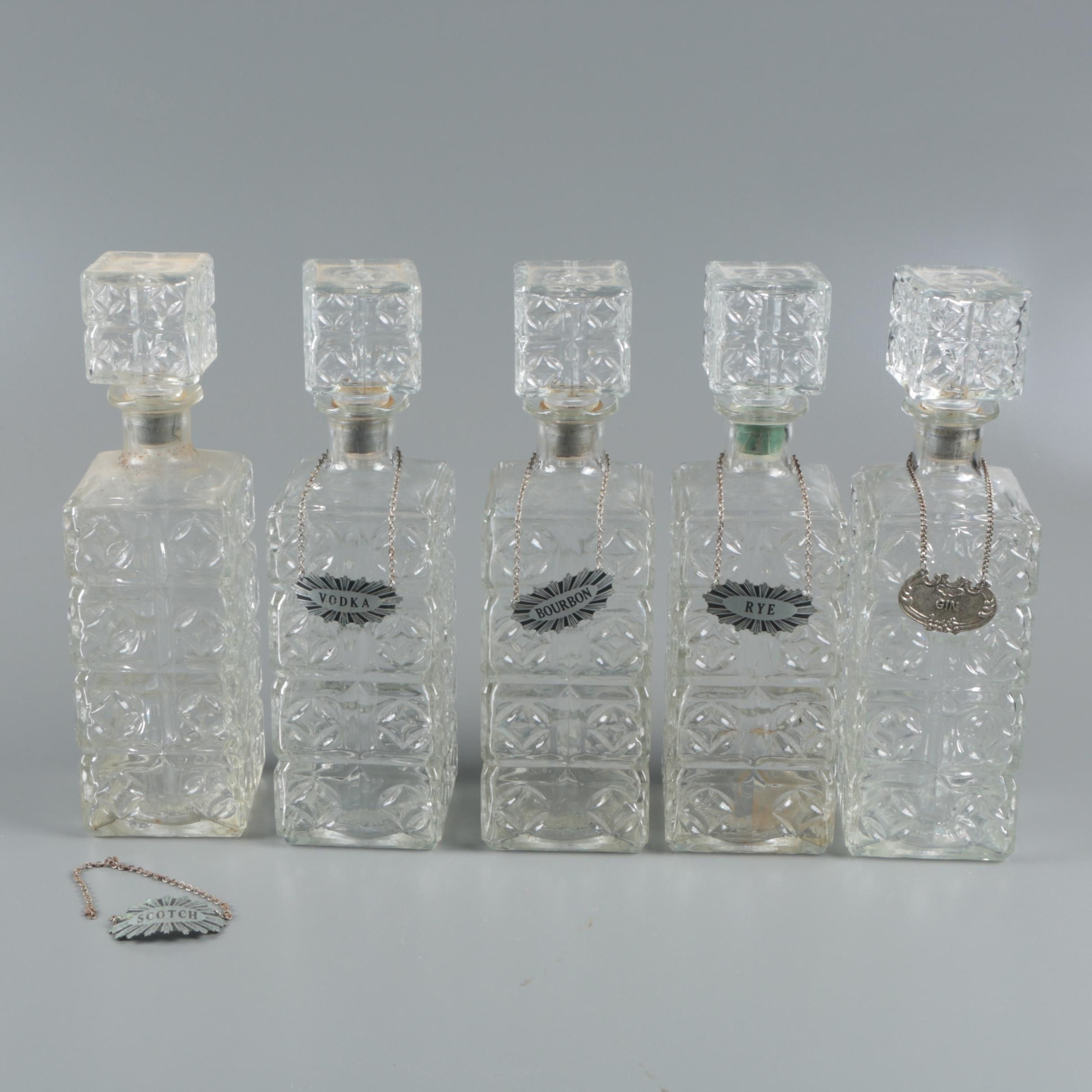 1960s Thatcher Glass Company Glass Liquor Decanters with Labels