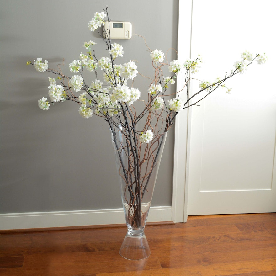 Contemporary Glass Floor Vase With Artificial Flowering Branches Ebth