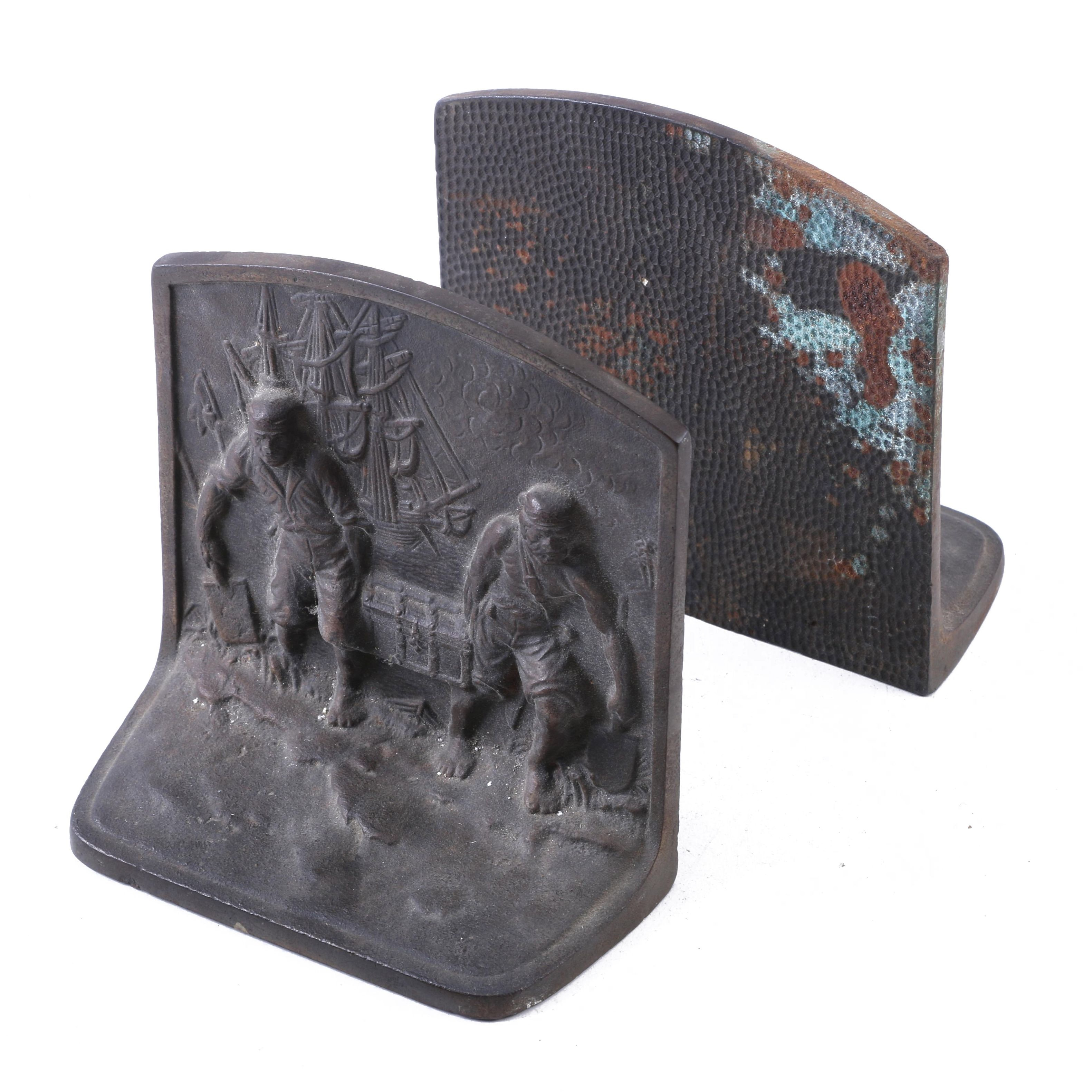 Cast Iron Pirate Bookends Attributed to Hubley, Circa 1920-30s