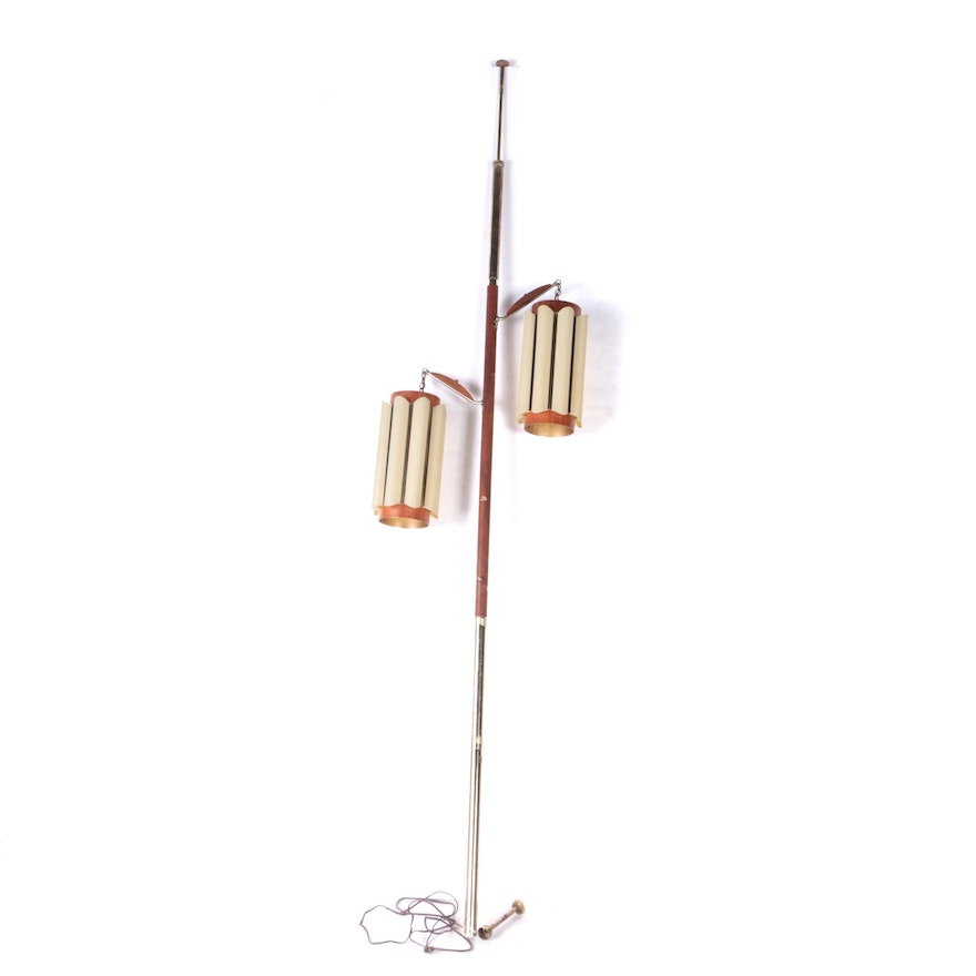 Mid Century Modern Wood And Metal Floor To Ceiling Tension Pole Lamp