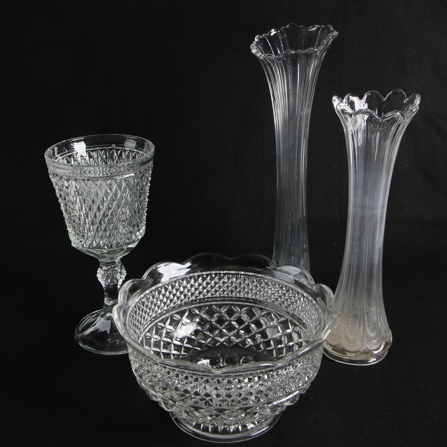 Two American Molded Glass Celery Vases A Punch Bowl And A Vase Ebth